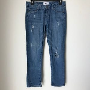 PAIGE Jimmy Jimmy Crop Denim Distressed Jeans